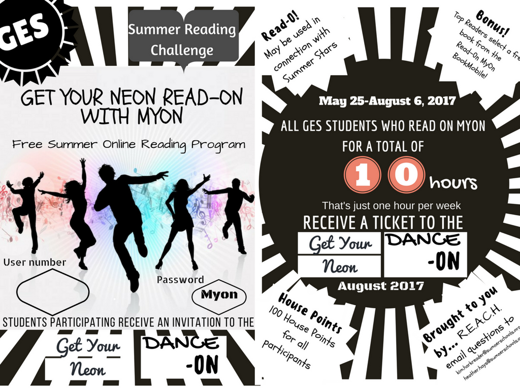 Read on Myon or complete Read-O  boards & enjoy the Get Your Read-On Neon Dance!