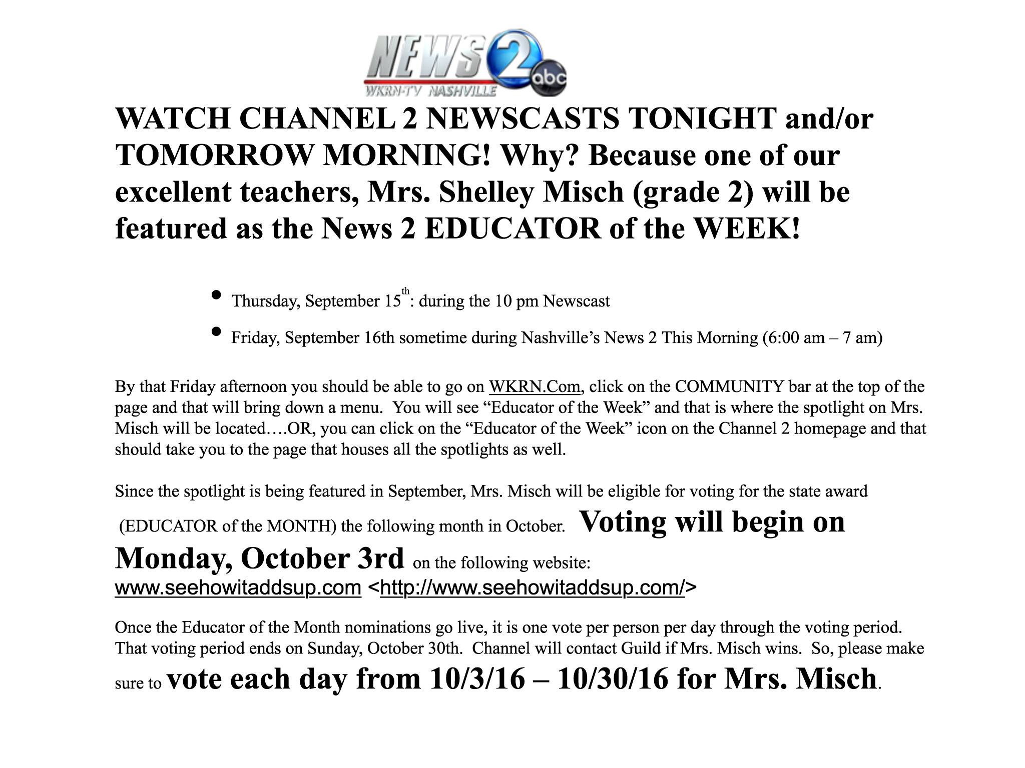 Click here to vote each day from 10/3/16 – 10/30/16